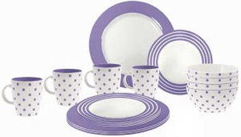 Serviesset Dots en Stripes Lilac